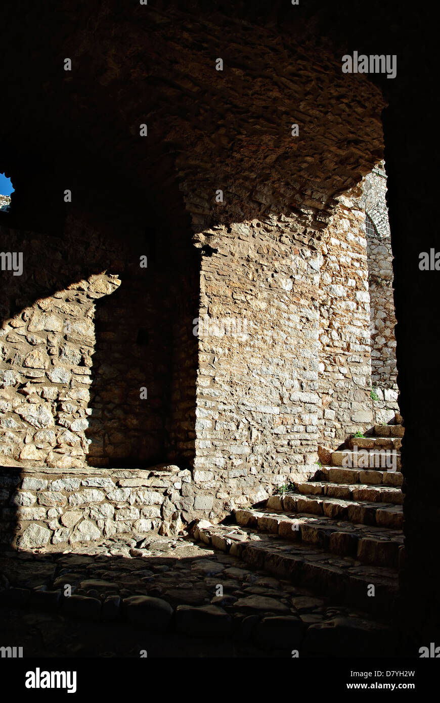 Shadow detail of medieval fortress stone walls and entrance. - Stock Image & Indoor Stone Walls Stock Photos \u0026 Indoor Stone Walls Stock Images ...