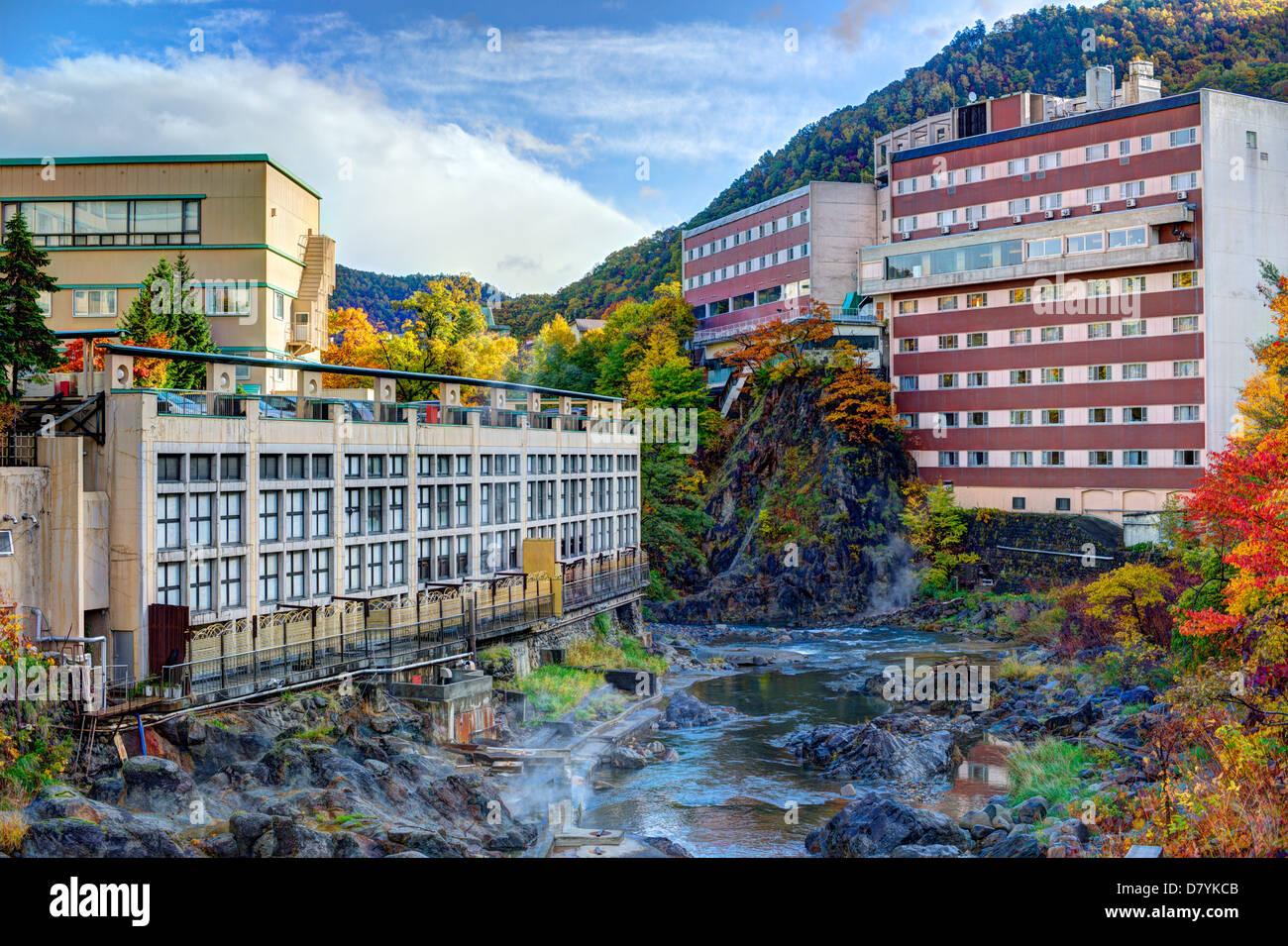 Hot Springs resort town of Jozankei, Hokkaido, Japan. - Stock Image