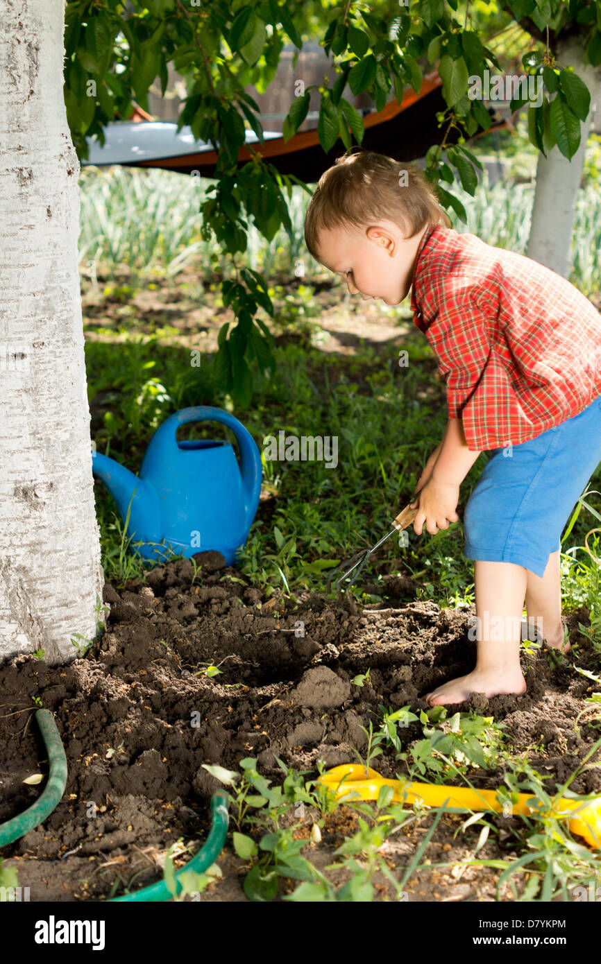 Litle boy making a hole in the groung below a tree at the base of the trunk to plant a fresh spring seedling - Stock Image
