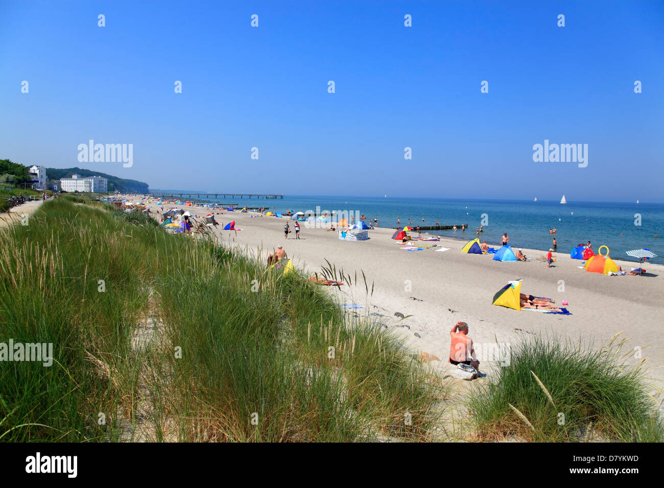 Heiligendamm beach, baltic sea coast, Mecklenburg, Germany - Stock Image