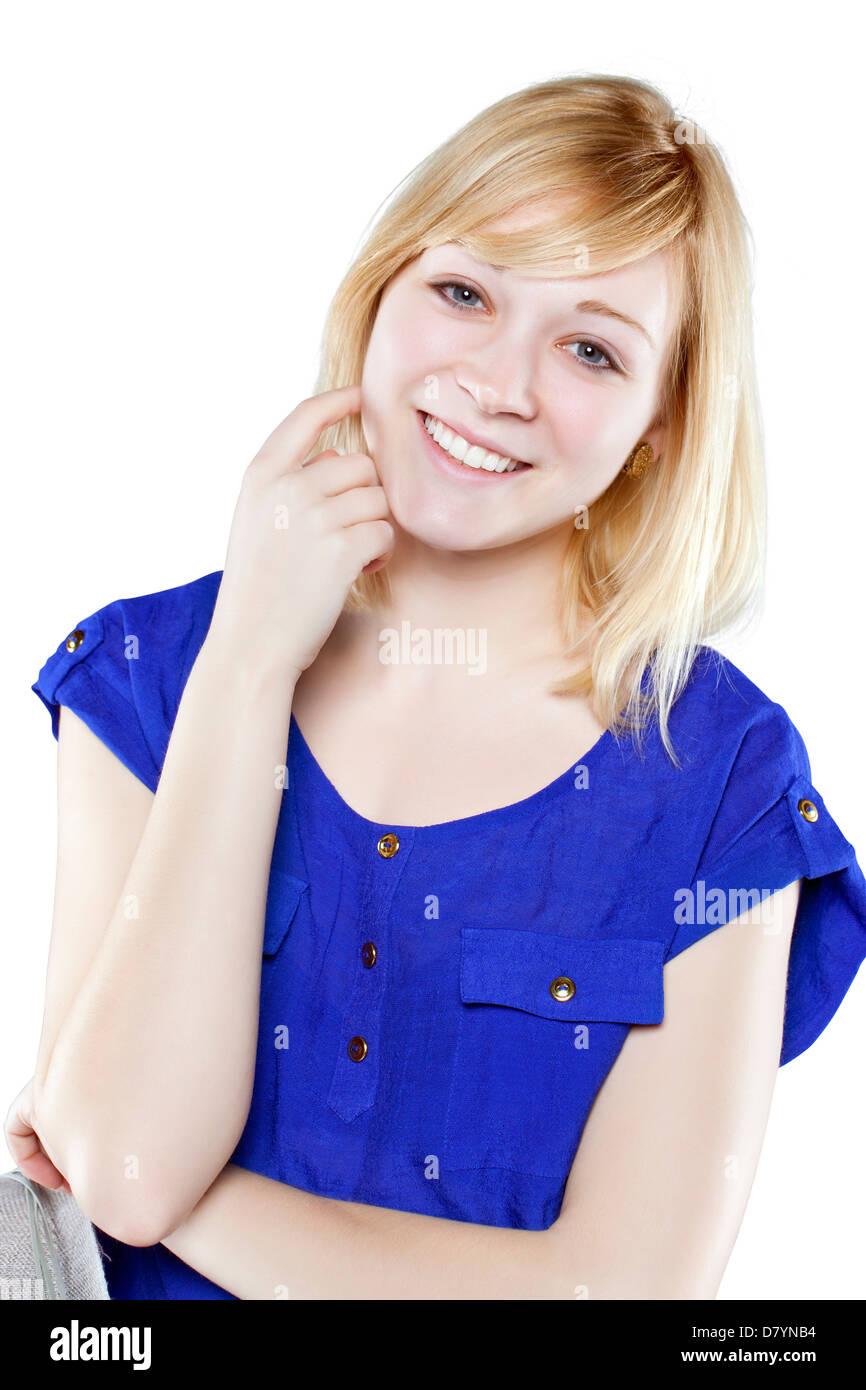 bcef99b37e Beautiful blonde woman in casual attire against white background - Stock  Image