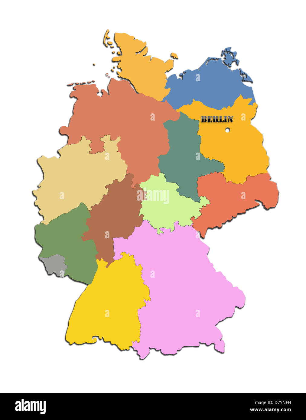 Colored silhouette of the map of Germany with regions - Stock Image