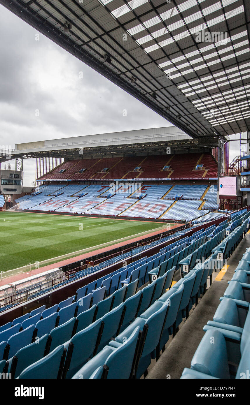 A view of the famous Holt End of the Aston Villa Football Club ground in Birmingham, UK. - Stock Image