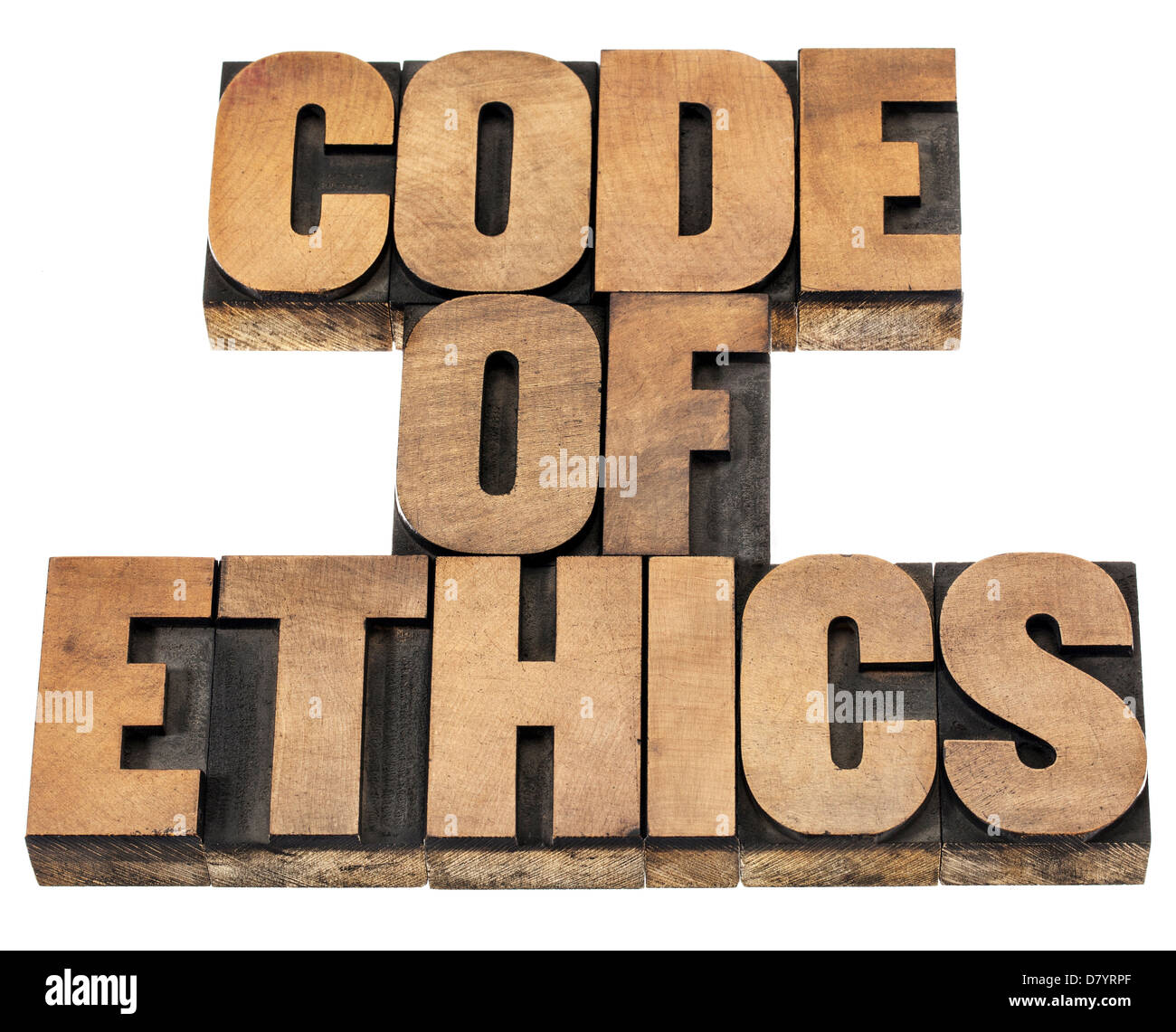 code of ethics - isolated text in letterpress wood type printing blocks - Stock Image