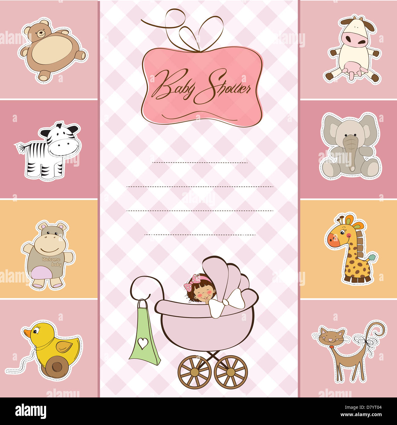 new baby girl announcement card with little girl stock photo