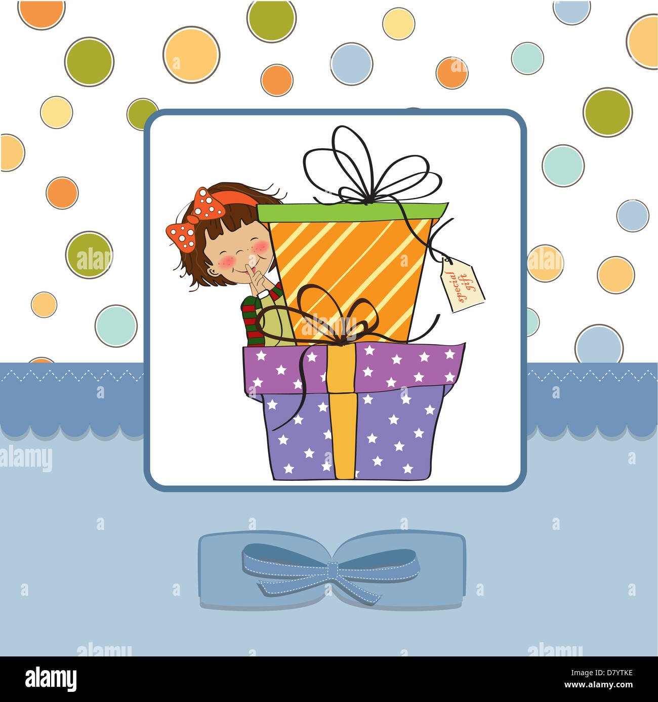 Cute Little Girl Hidden Behind Boxes Of Gifts Happy Birthday Stock
