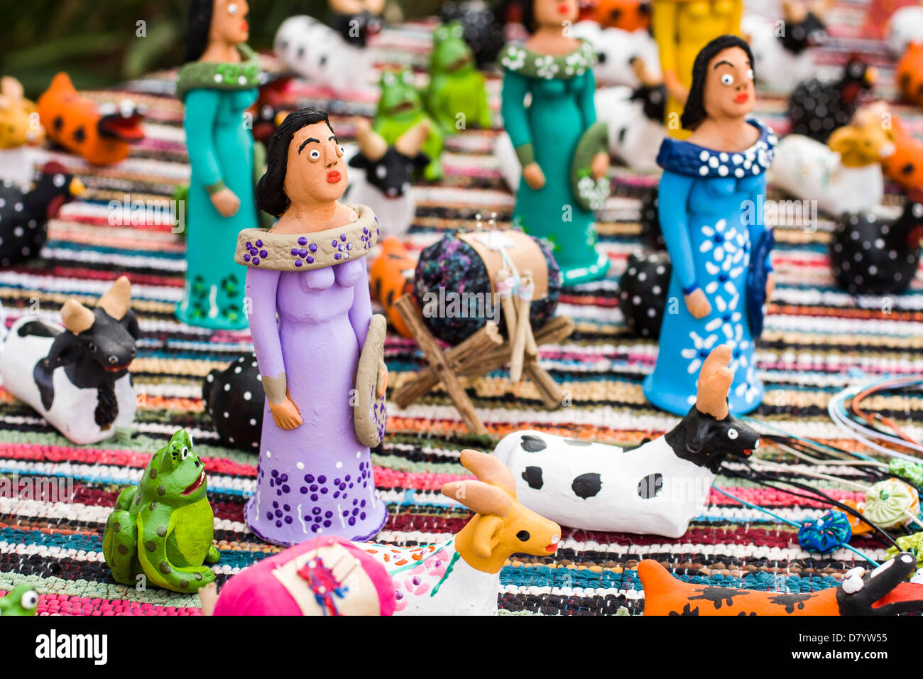 Typical handcraft figurines from Florianopolis. - Stock Image