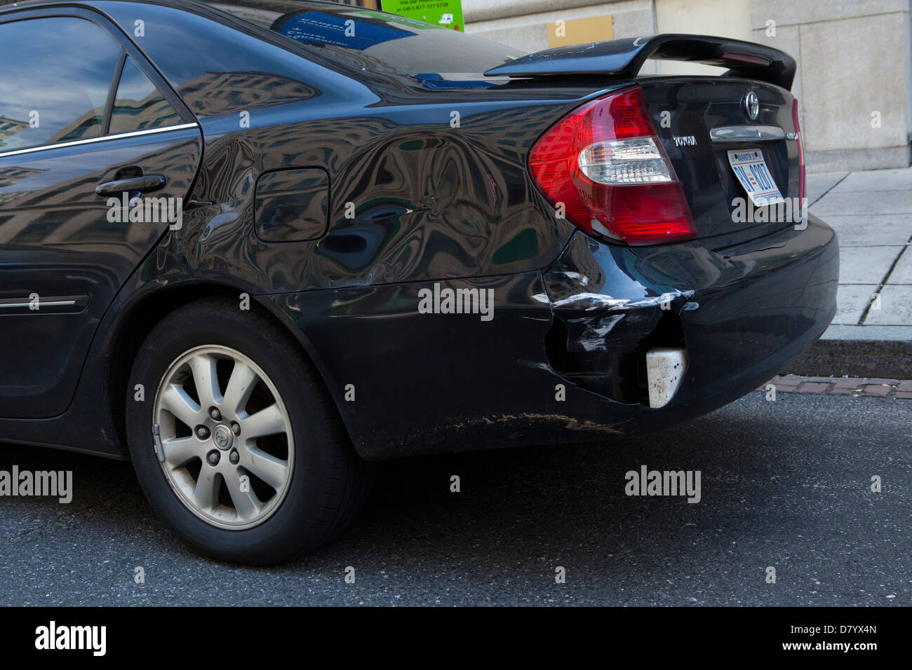 Rear bumper damage on Toyota Camry - USA - Stock Image