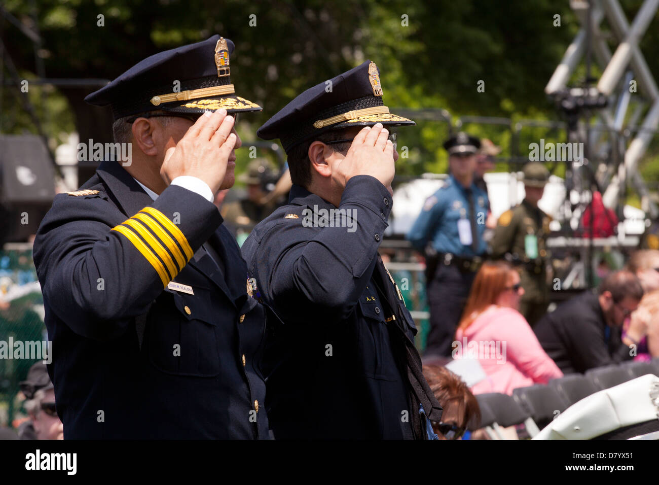 Police officers saluting, Police Week 2013 - Washington, DC USA - Stock Image