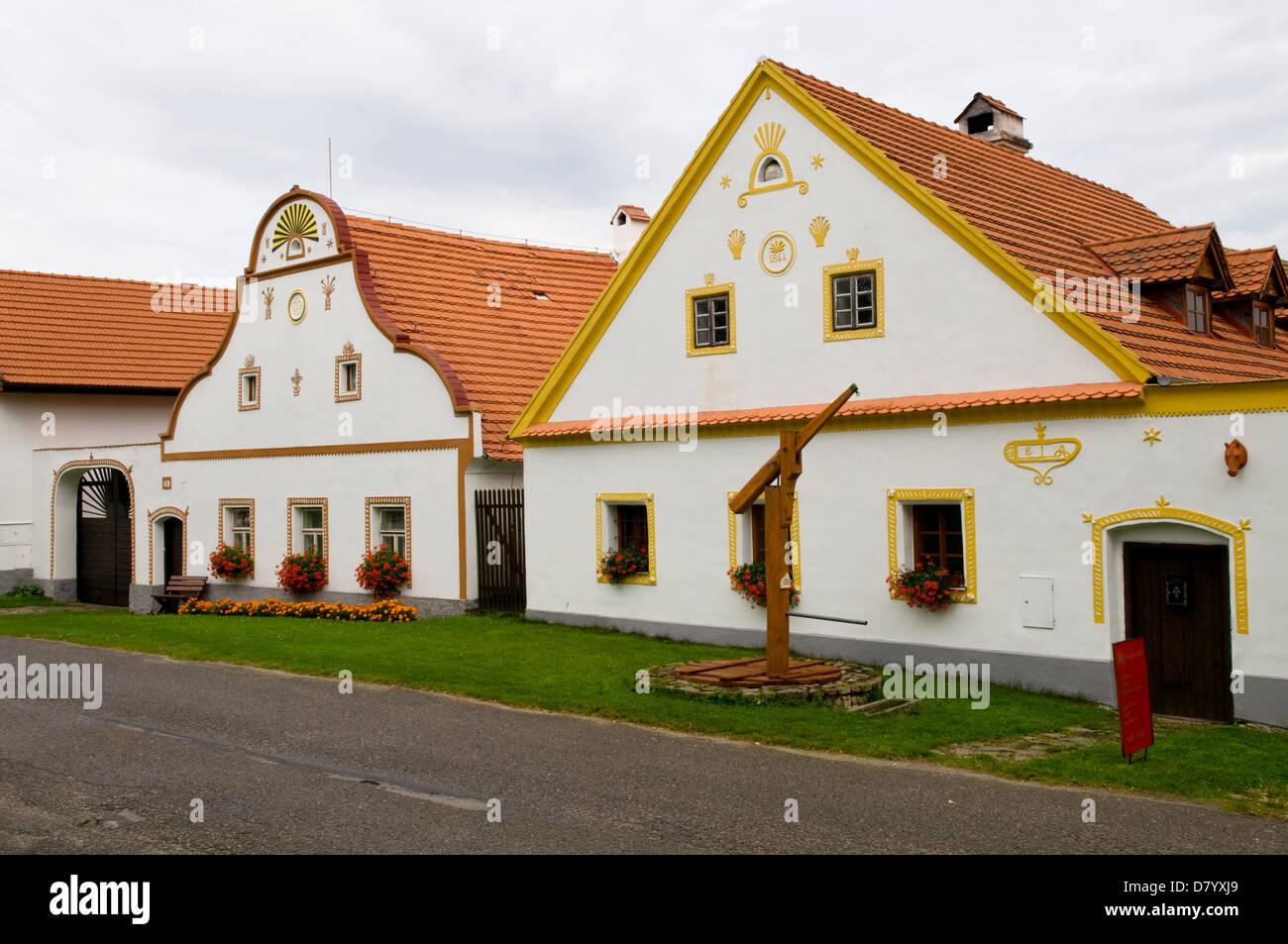 Baroque Houses in Holasovice, Bohemia, Czech Republic - Stock Image