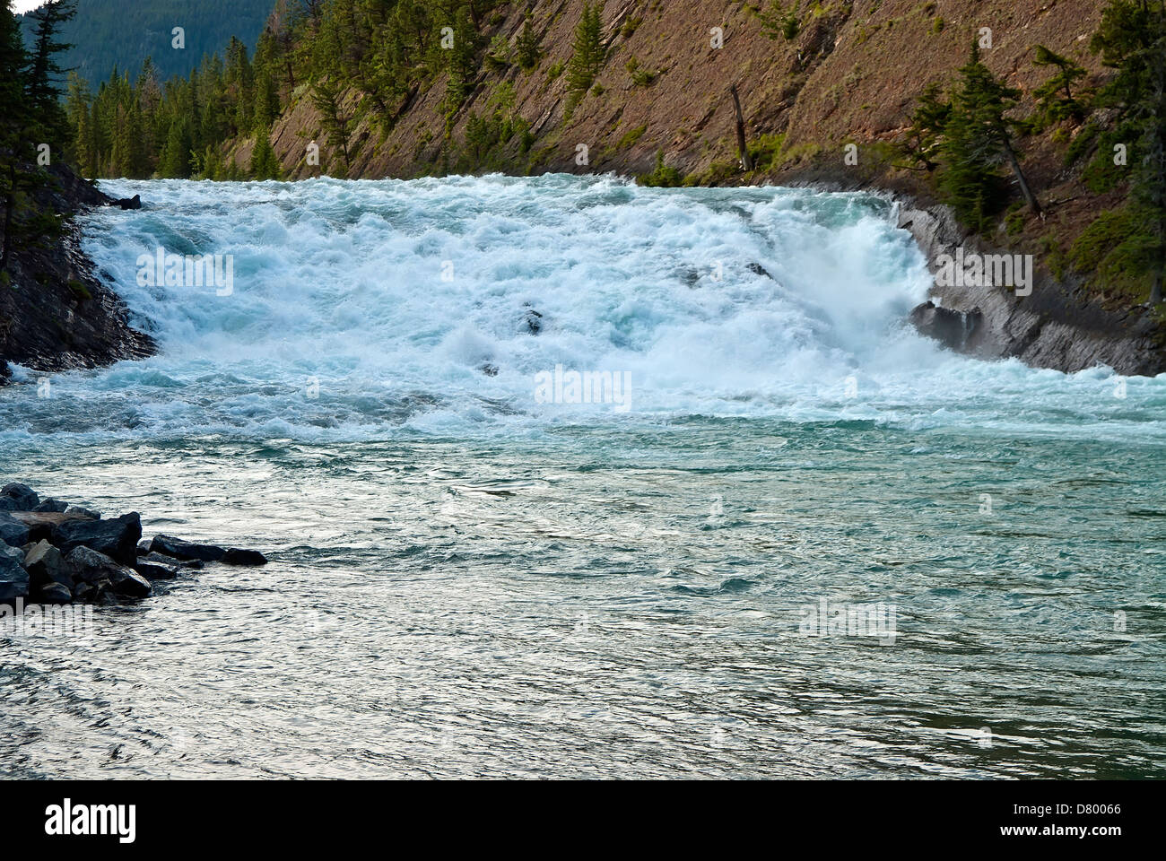 Bow Falls,  Near Banff in the Rocky Mountain National Park - Stock Image
