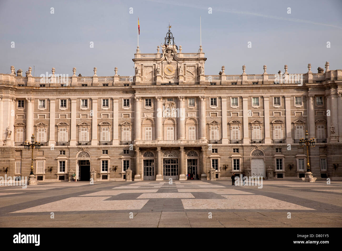 the kings palace Palacio Real and Plaza de la Armeria in Madrid, Spain, Europe Stock Photo