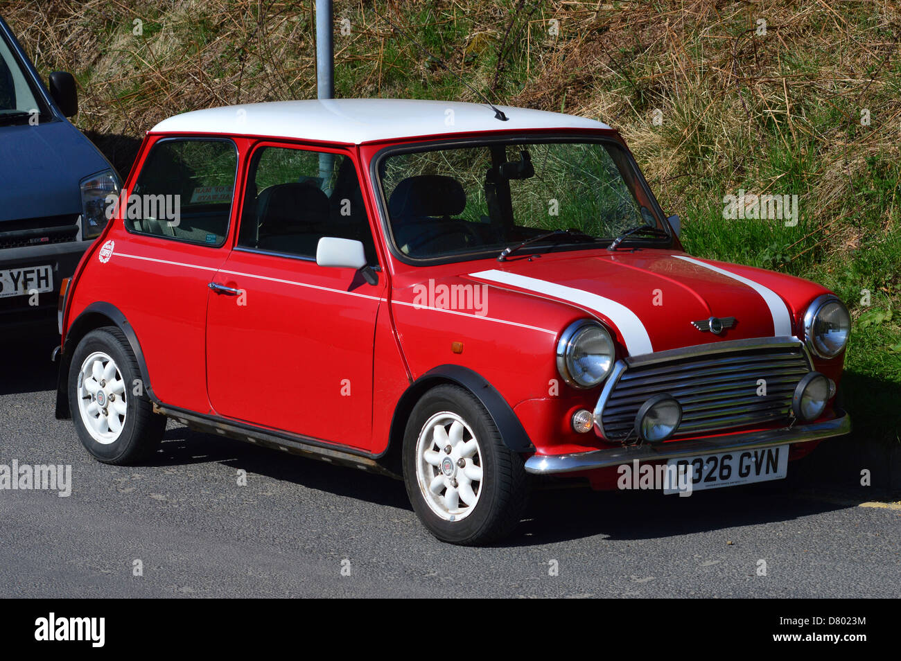 Mini Cooper Motorcar Auto Classic Car Red White Italian Job Stock