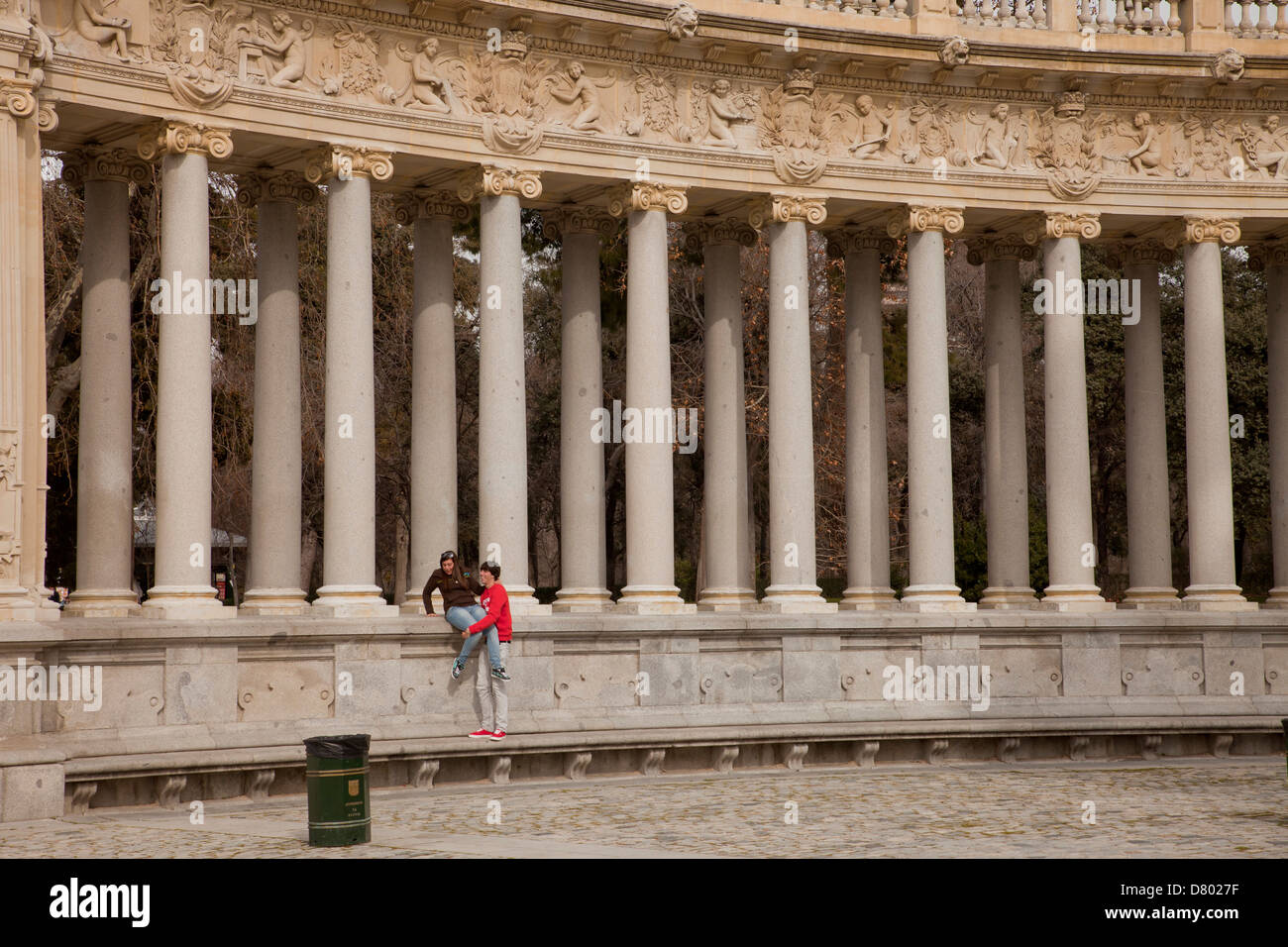 olumns of the monument to King Alfonso XII at the Park Parque del Retiro in the spanish capital Madrid, Spain, Europe - Stock Image