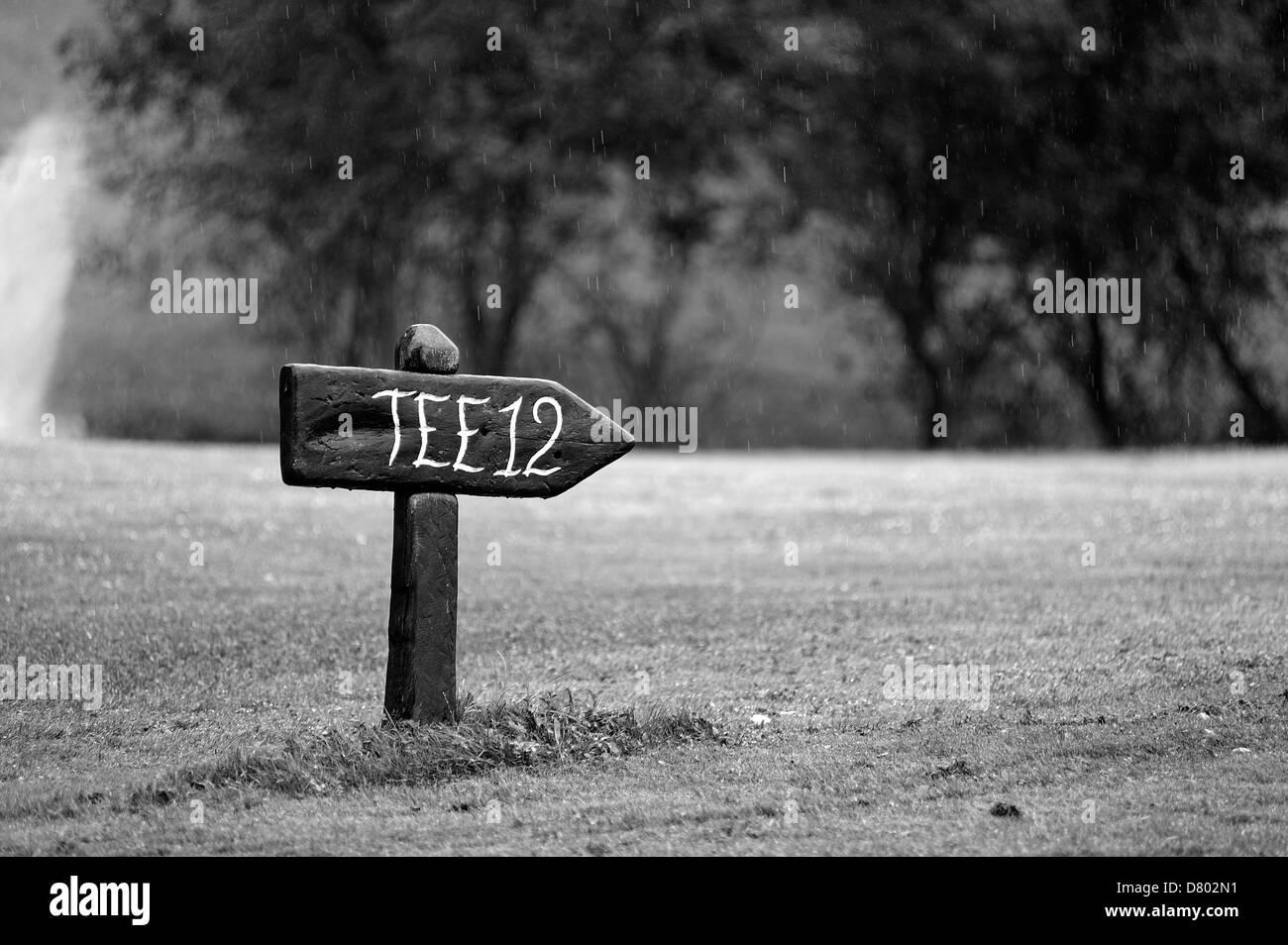Black And White Golf Course Tee Twelve Stock Photo Alamy