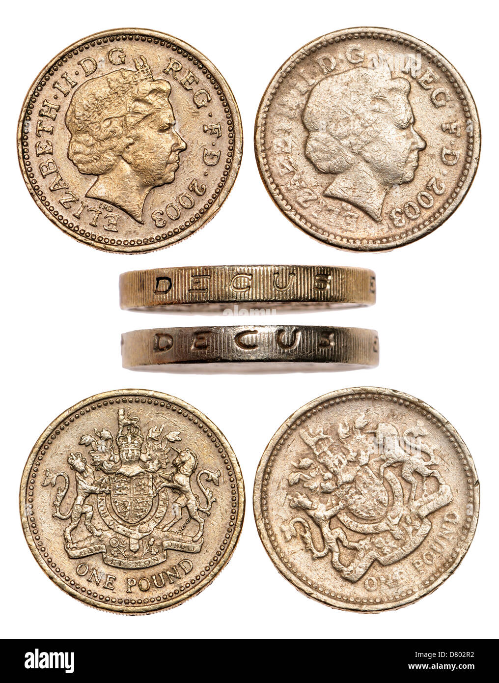 Real and counterfeit pound coins. (see description ) - Stock Image