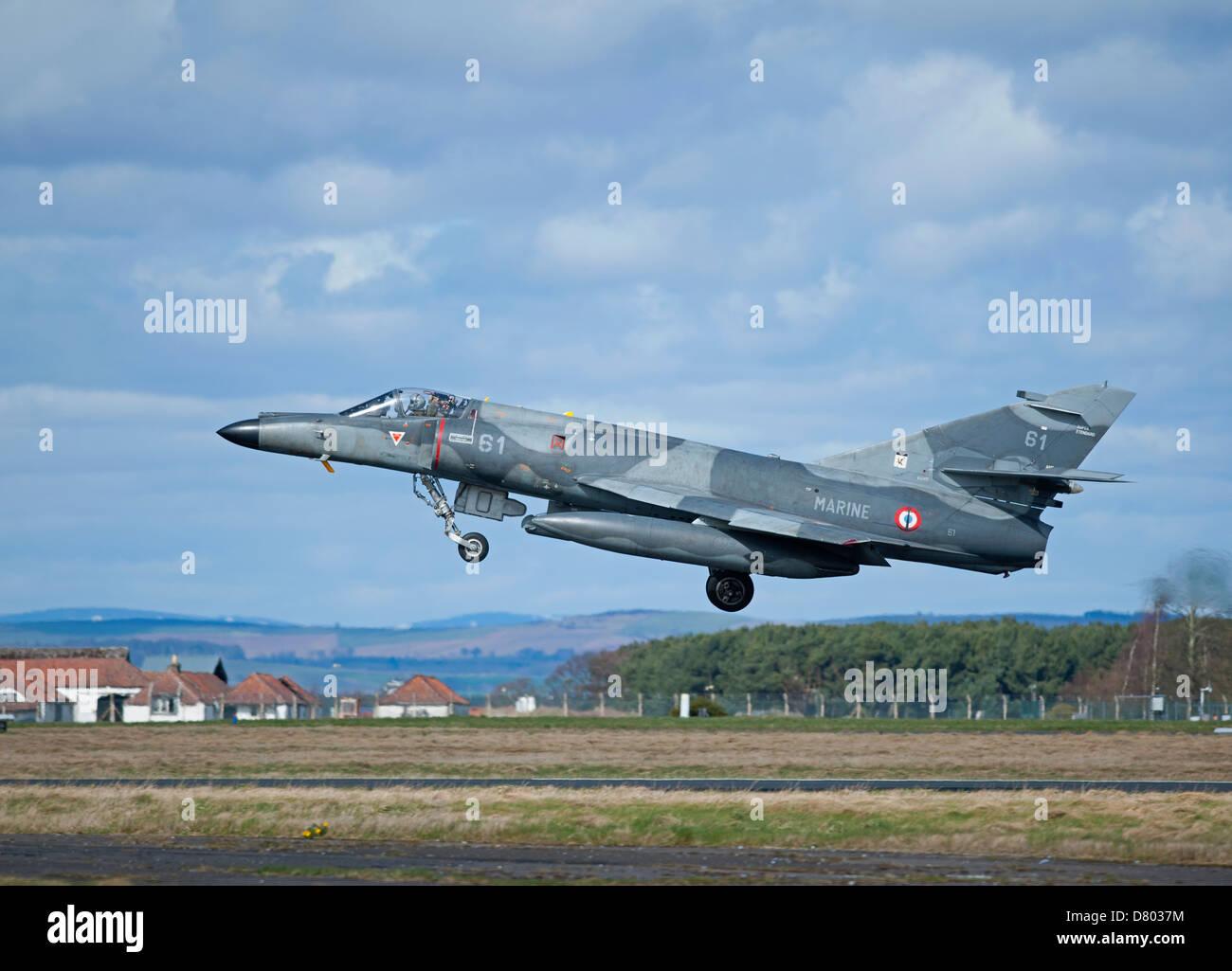 Dassault Super Etendard Fighter Jets Modernise 17 Flottille, Landivsiau CEPA Istres.   SCO 9119 Stock Photo