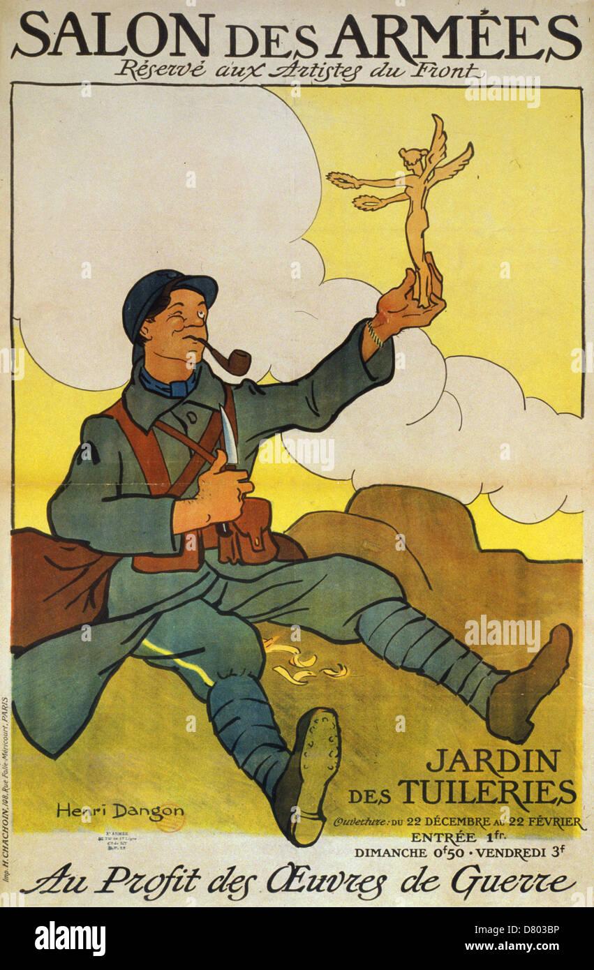 Salon des Armées, réservé aux artistes du front. Au profit des oeuvres de guerre. Jardin des Tuileries - Stock Image