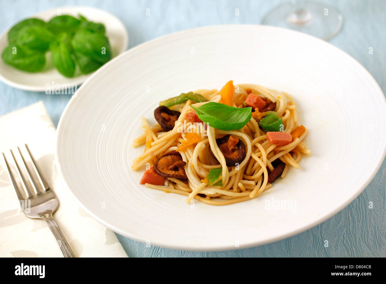 Spaghetti with turkey meat and Chinese mushrooms. Recipe available. Stock Photo