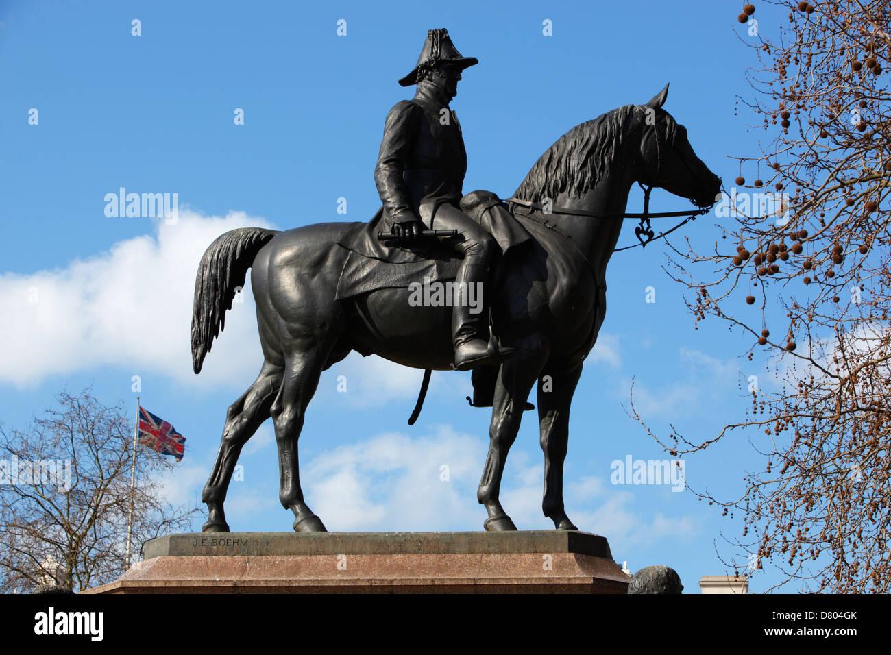 Equestrian statue of the 1st Duke of Wellington on Hyde Park Corner - Stock Image
