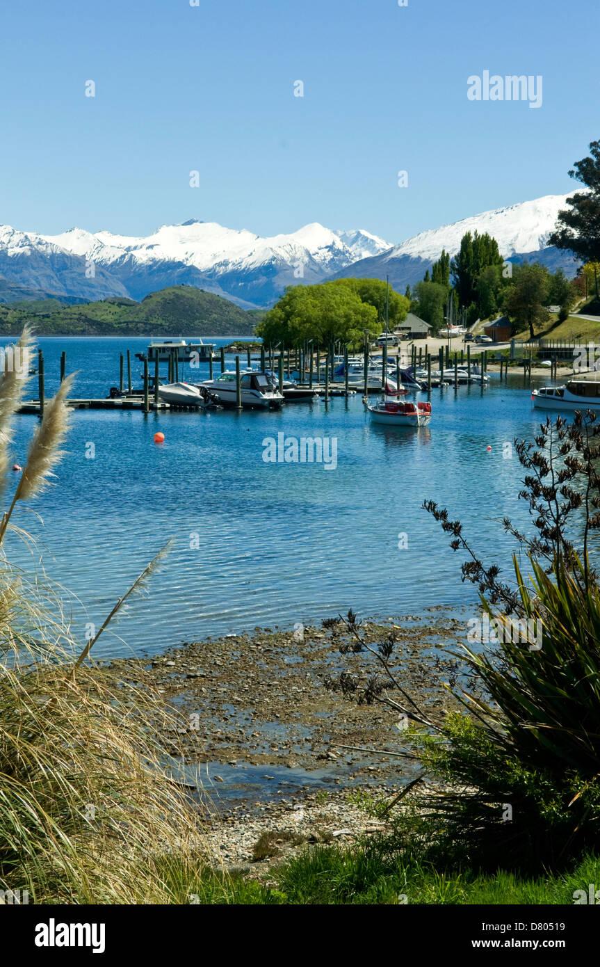 Marina on Lake Wanaka, Central Otago, New Zealand - Stock Image