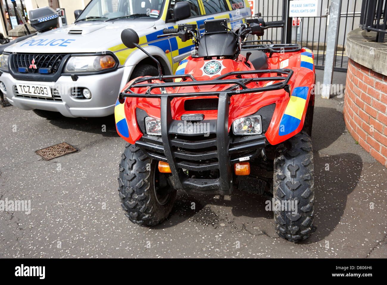 selection of police vehicles including quad atv on display outside holywood police station on an open day - Stock Image