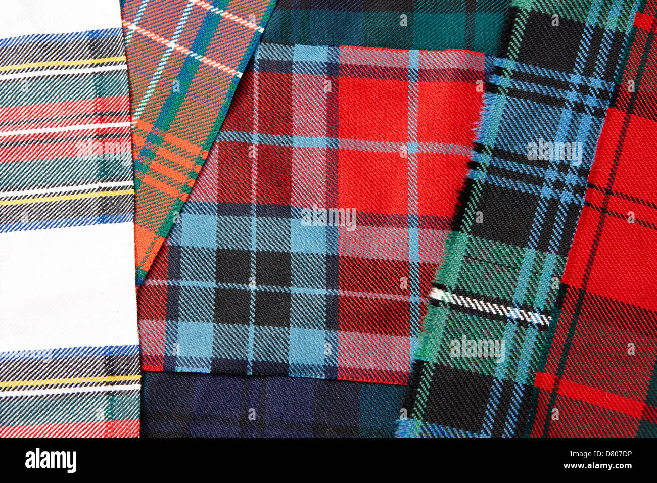 range of traditional scottish clan tartans - Stock Image