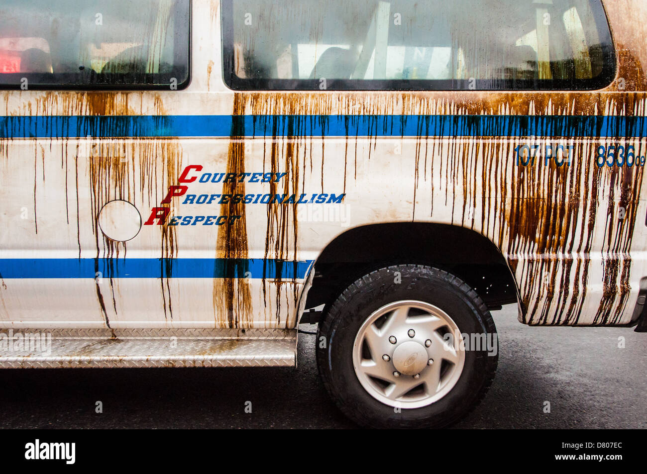 Motor oil splashed on a NYPD van at J'ouvert, Brooklyn, 2012 - Stock Image