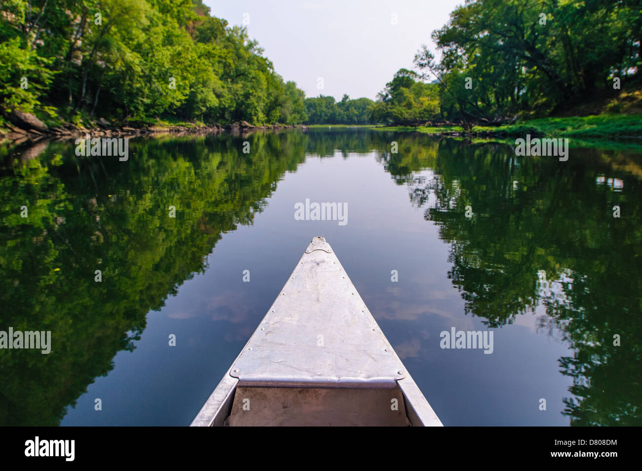 Canoing the Caney River in Tennessee. Just the tip of the canoe is visible in frame. - Stock Image