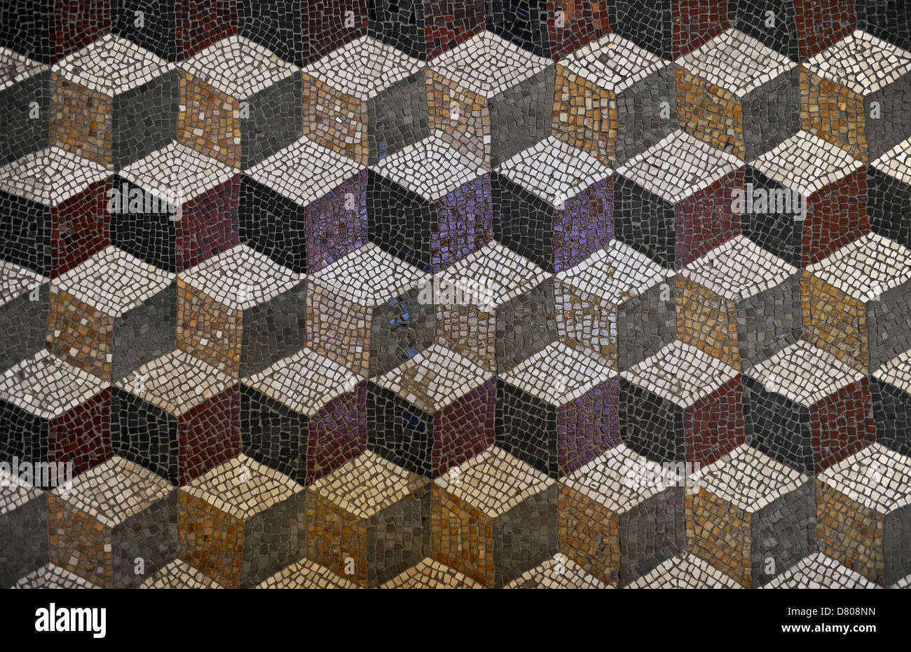 Roman mosaic with a cube pattern giving a three dimensional effect. Glyptothek. Munich. Germany. - Stock Image