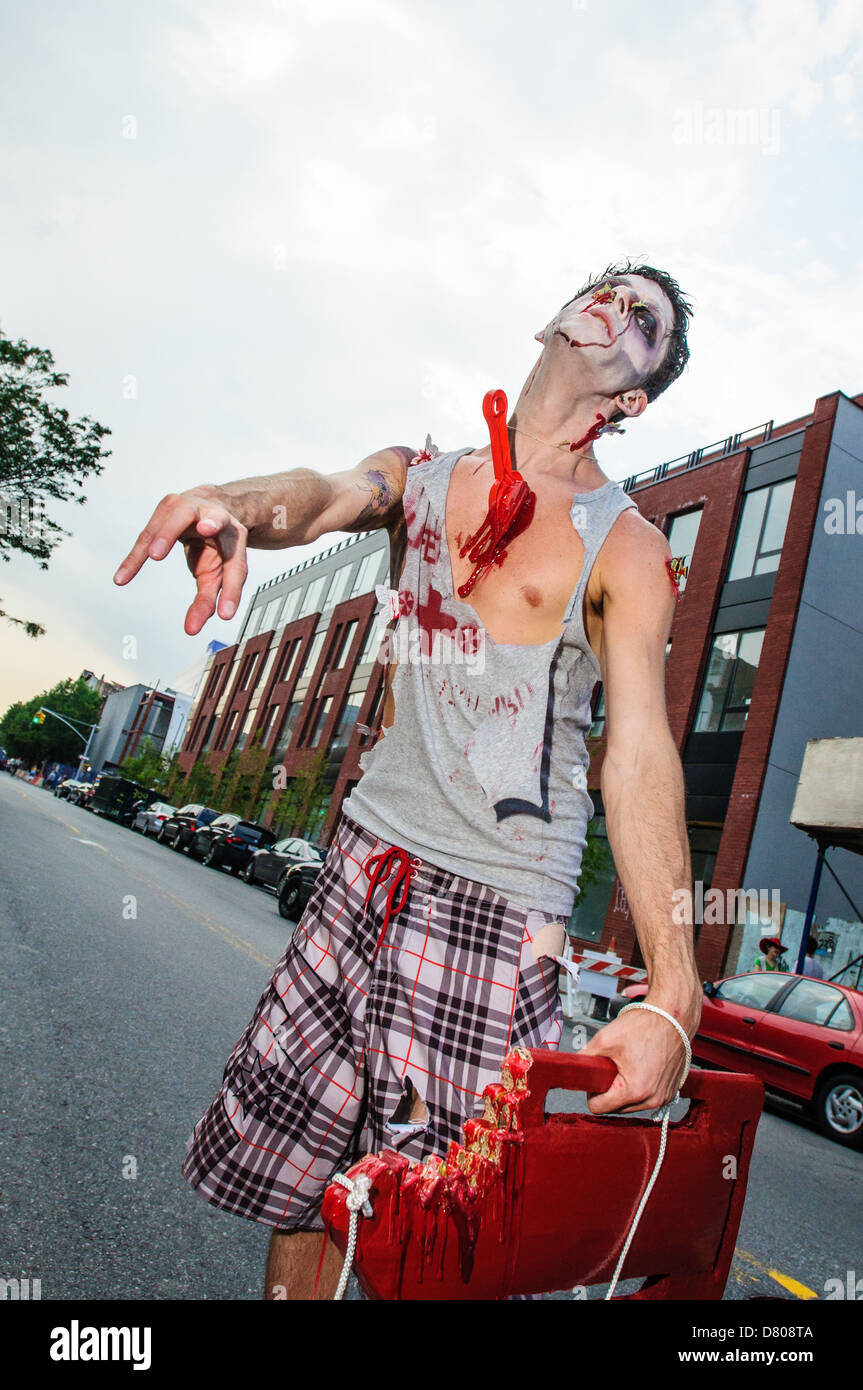 Participant of the NYC Zombie Crawl, Williamsburg. May 27, 2012 - Stock Image