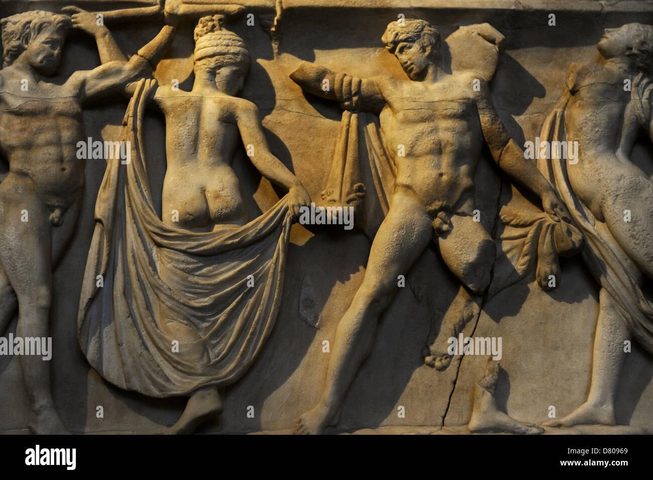 Front side of sarcophagus. Modern work after 2nd century AD originals. Marriage of Dionysus and Adriane. Glyptothek. Munich. Stock Photo