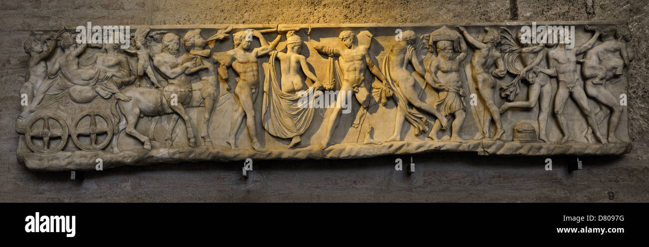 Front side of sarcophagus. Modern work after 2nd century AD originals. Marriage of Dionysus and Adriane. Glyptothek. Stock Photo