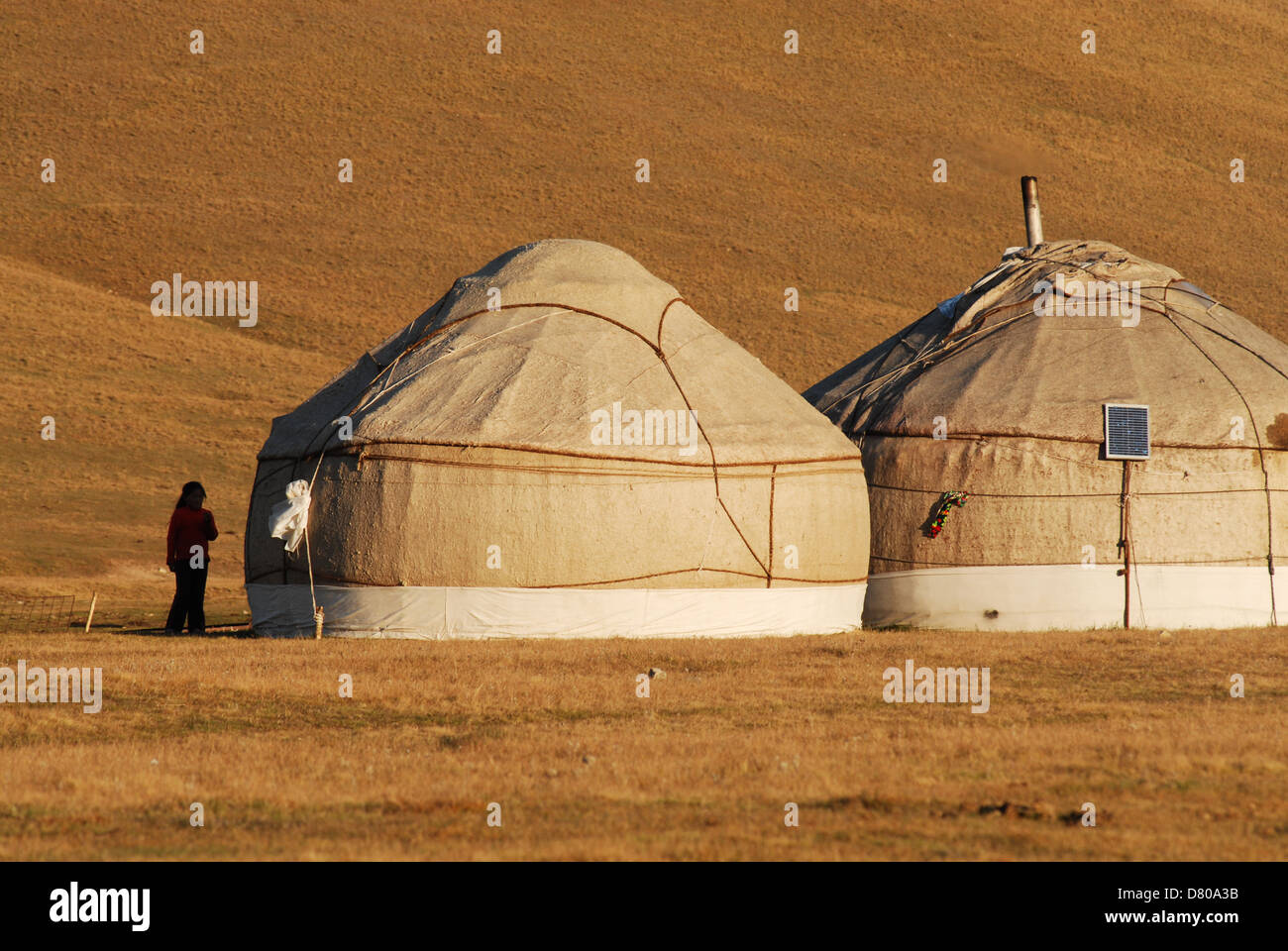 A girl stands near two Kyrgyz yurts at the sunset in the highland pastures at the Song Kul lake. Naryn region, Kyrgyzstan - Stock Image