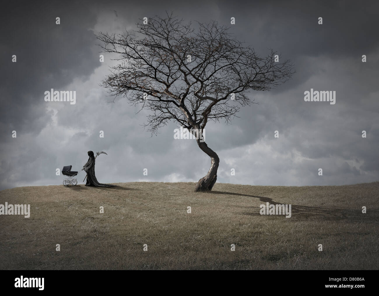Man In Black Robes With Baby Carriage By Dead Tree Stock Photo Alamy