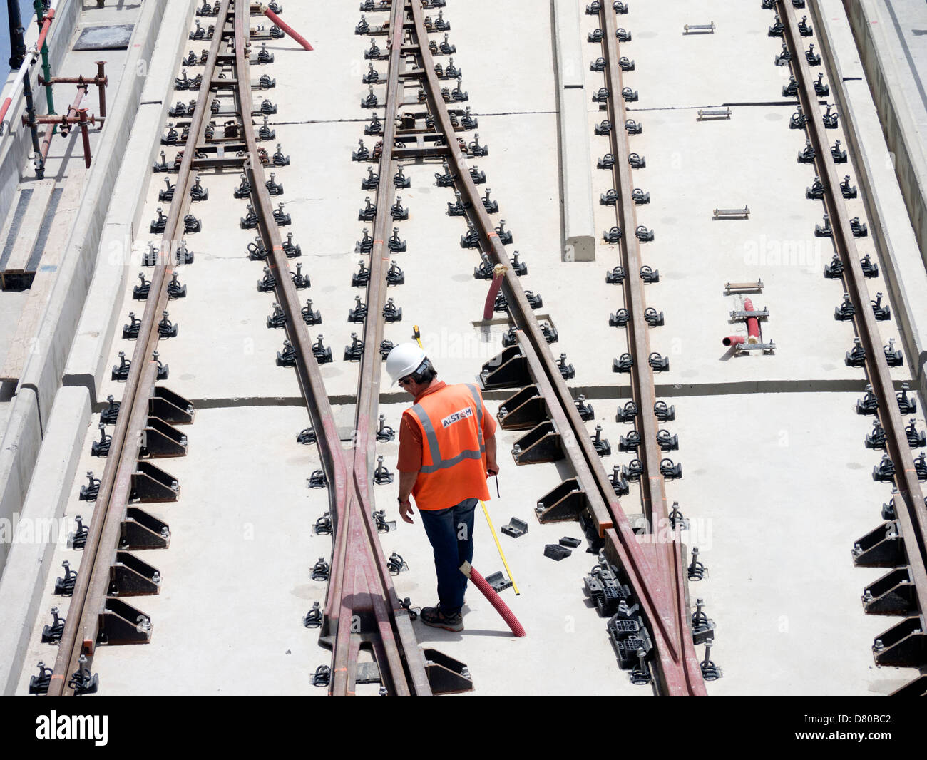 construction of new Al Sufouh tramway in Dubai United Arab Emirates - Stock Image