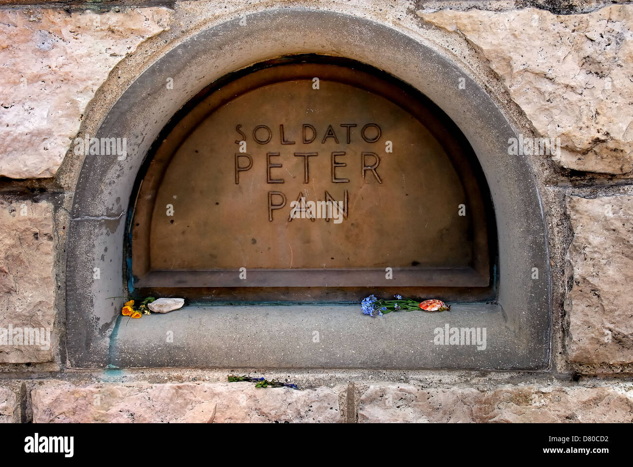 WWI. Veneto, Italy: Mount Grappa, Austro-Hungarian Ossuary : the soldier Peter Pan's grave. - Stock Image