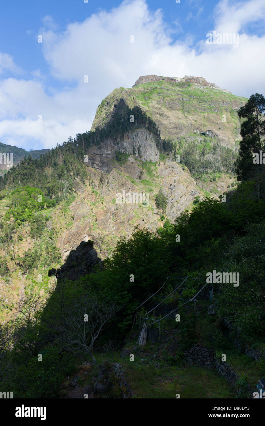 View over the town of Curral Das Freiras in Madeira - Stock Image