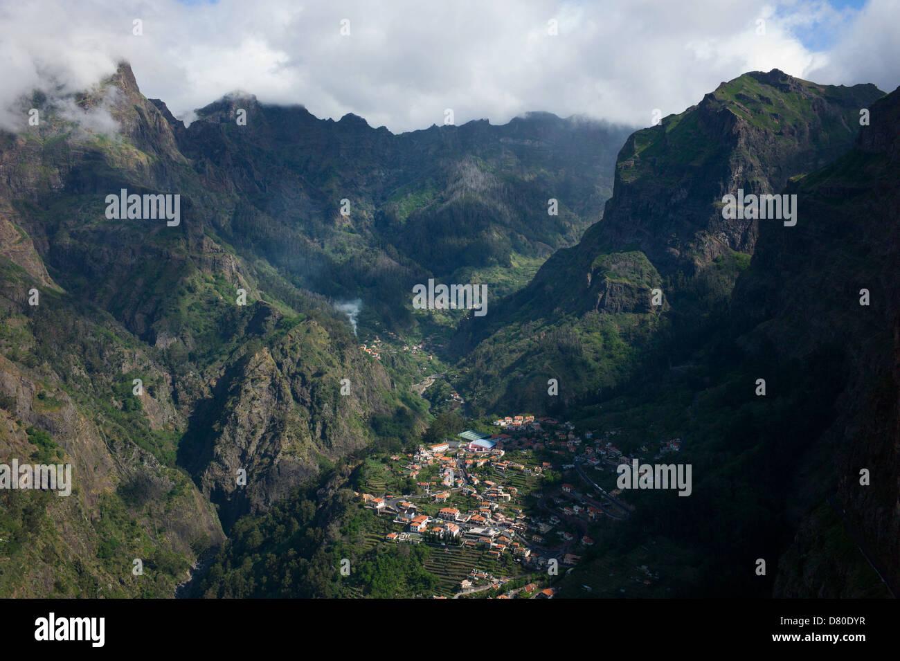 The town of Curral Das Freiras in Madeira - Stock Image