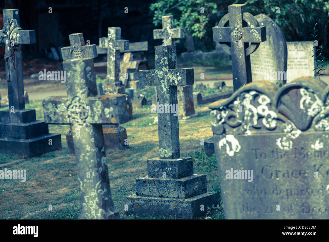 Old, weathered Grave stones in a English village church - Stock Image