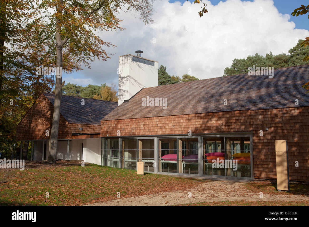 exterior of Runways End Outdoor Centre shingle covered building - Stock Image