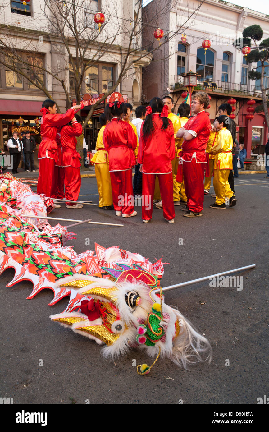 Chinese Year of the Tiger celebrations in Chinatown-Victoria, British Columbia, Canada. - Stock Image