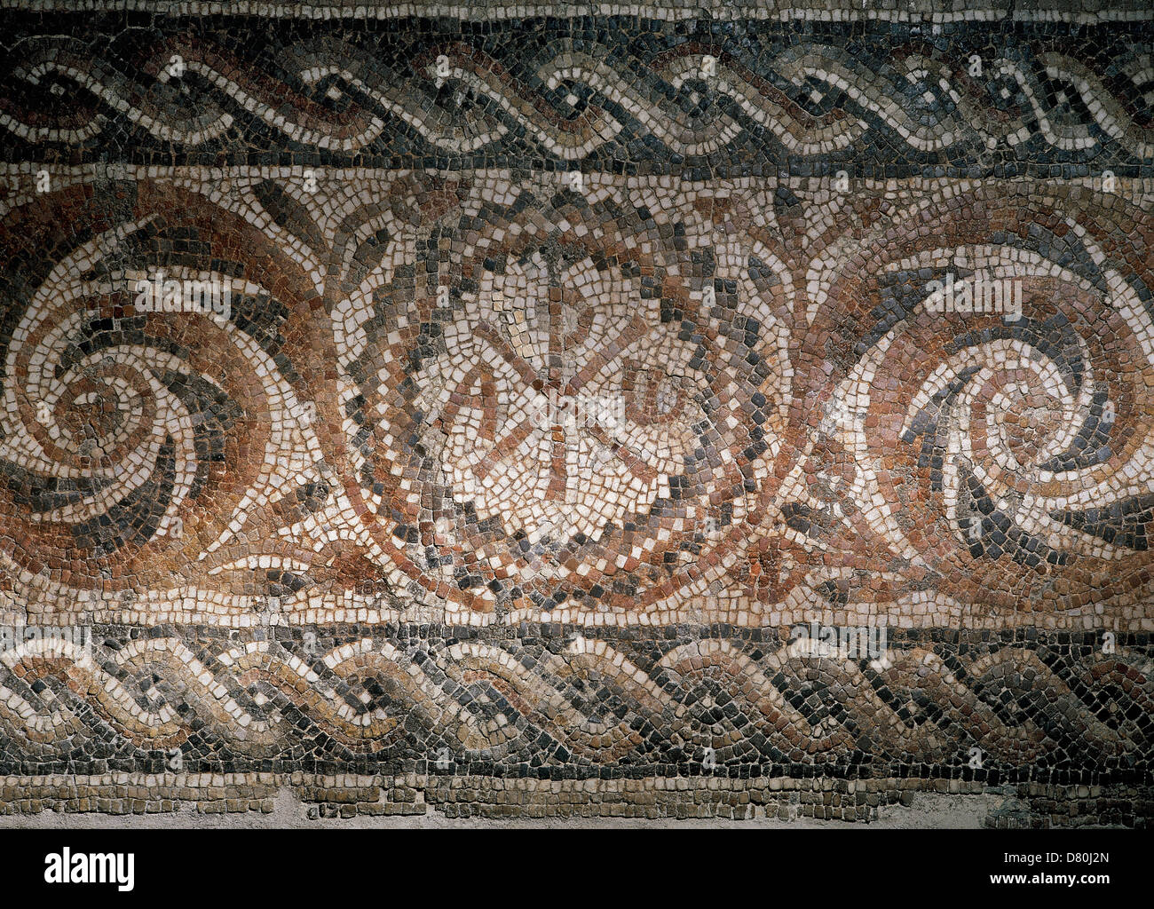 Roman mosaic depicting the Chi-Rho symbol with alpha and omega. Found in Barcelona. Museum of History. Barcelona. - Stock Image