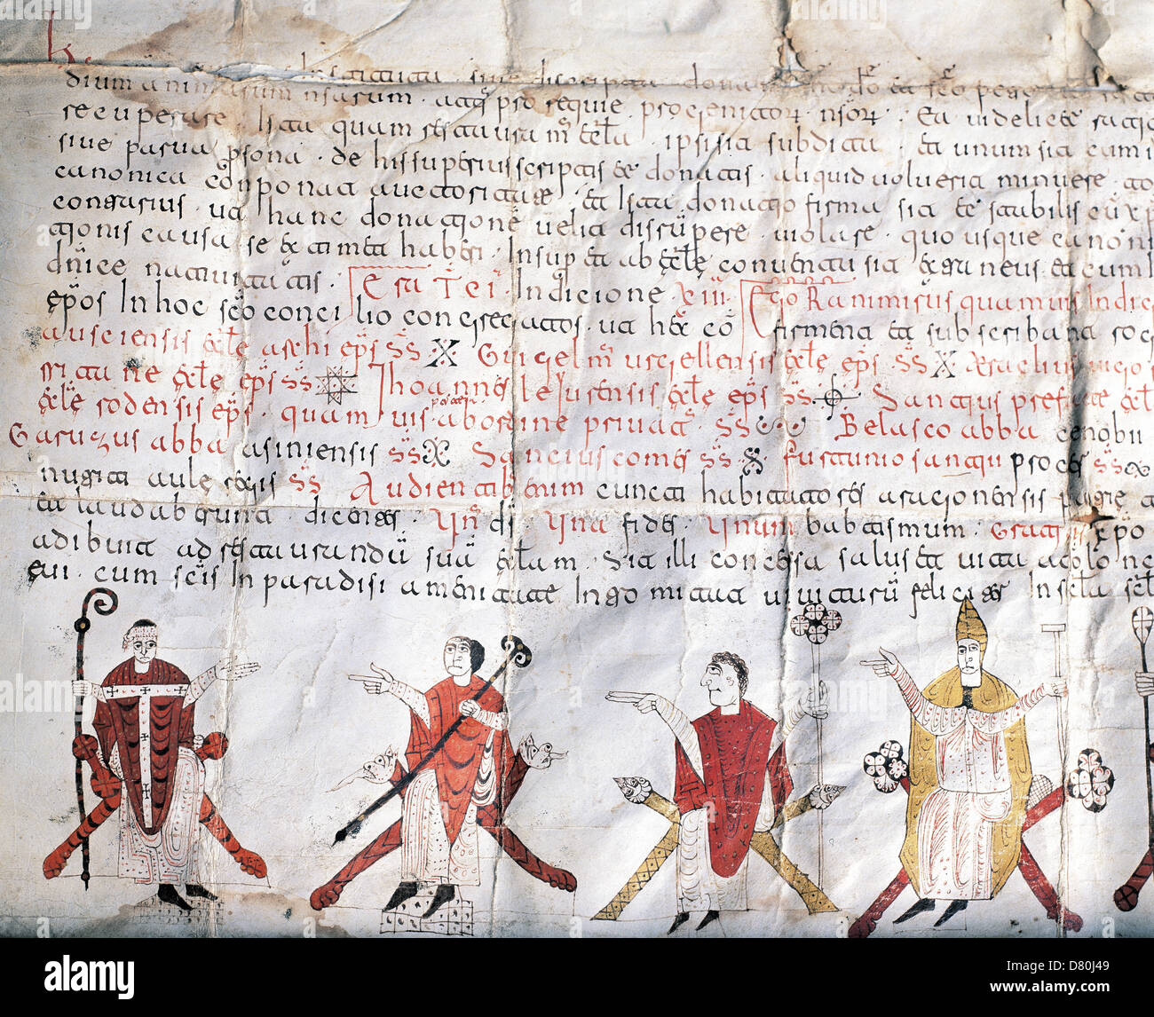 Minutes of the Council of Jaca. 11th century. Fragment of an illuminated scroll. At the bottom, bishops. - Stock Image