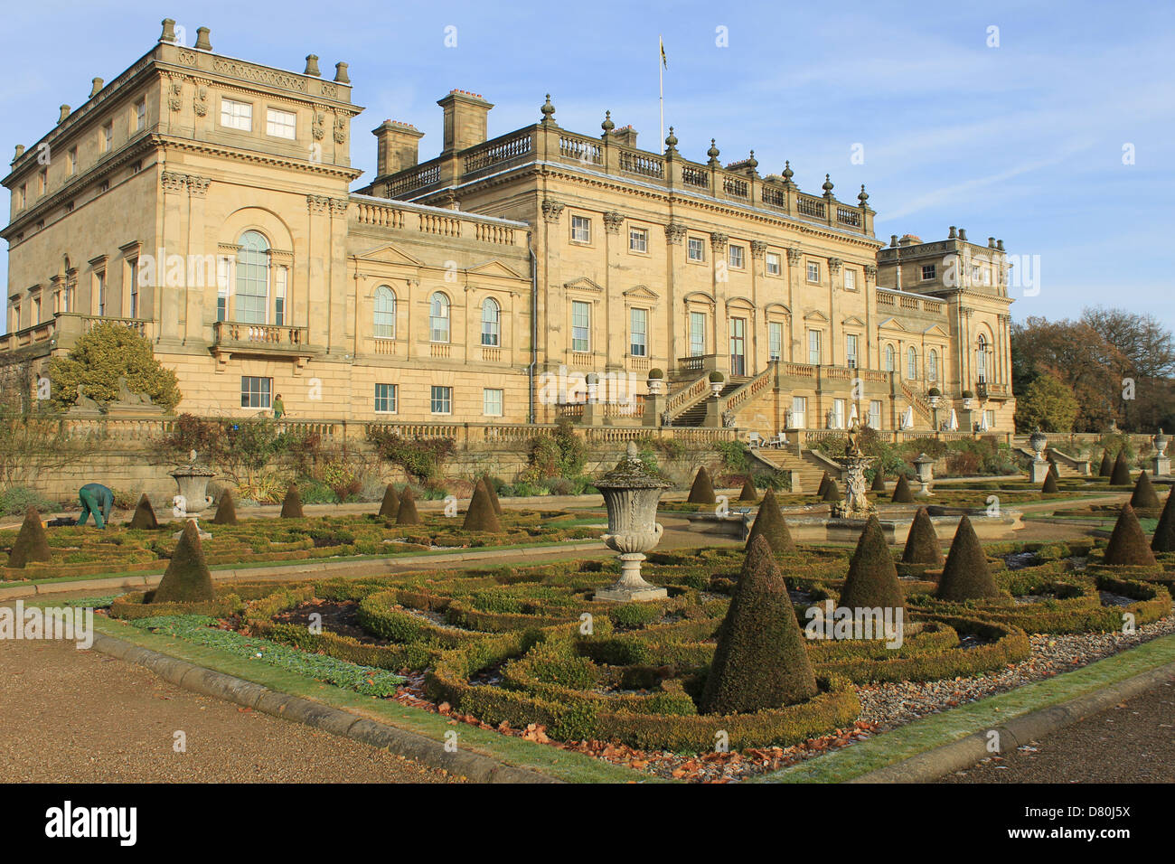Formal garden and rear elevation of Harewood House, near Leeds, Yorkshire, UK - Stock Image