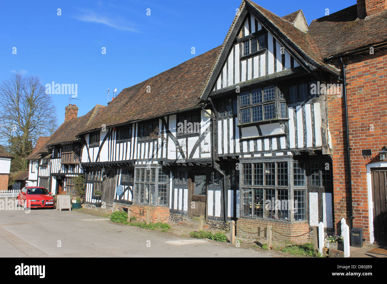 Timber-framed buildings, Chilham Square, Chilham, near Canterbury, Kent, UK; film location for Agatha Christie's - Stock Image