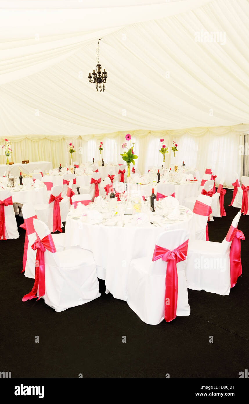 Wedding Reception Setting Shows Decoration Of Red Ribbon And