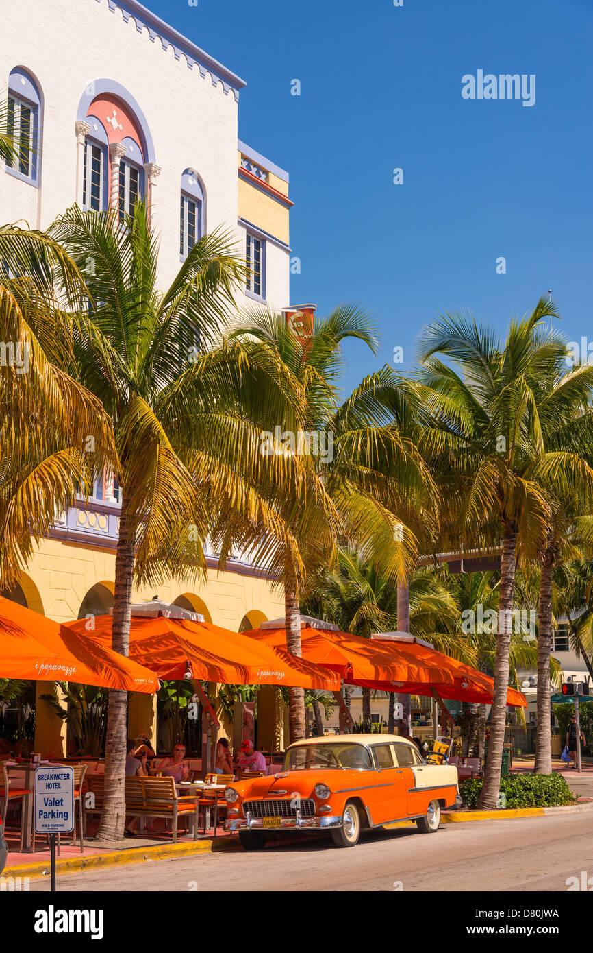Art Deco District Miami Beach, Ocean Drive, Collins Avenue, Miami Beach, Florida, USA - Stock Image