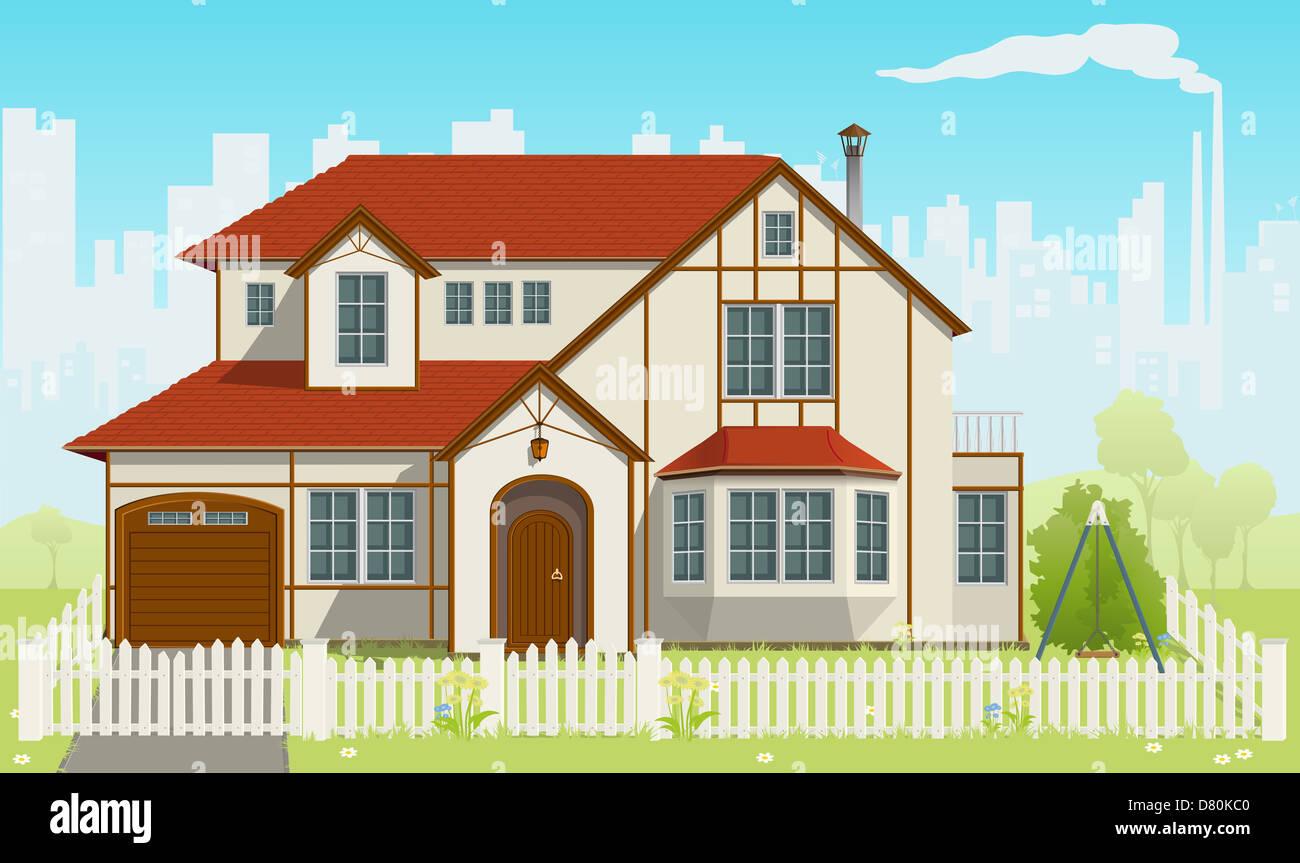 Family House. Vector illustration. EPS8 - Stock Image