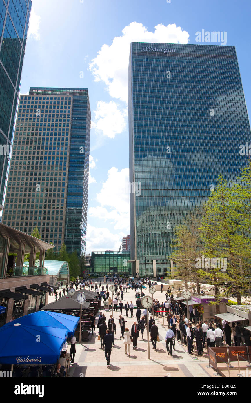Canary Wharf financial district, Isle of Dogs, east London, England, United Kingdom - Stock Image